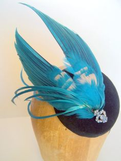 Vintage Millinery Feather Black Velvet Button Beret by ChefBizzaro, $95.00