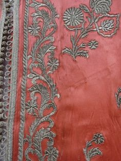 Detail from a Silk Satin robe with silver thread embroidery, probably Morocco