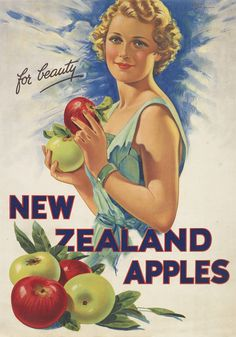"""Vintage Advertisement """"New Zealand Apples For Beauty"""" Originally designed by Edward Cole in the ~ New Zealand Fine Prints Vintage Advertising Posters, Vintage Travel Posters, Vintage Postcards, Vintage Advertisements, Vintage Ads, Vintage Prints, Nz History, New Zealand Art, Nz Art"""