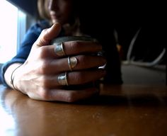Mixed metal stackable rings in sterling silver by RubyandRevolver