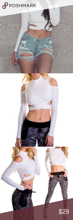 "Long Sleeve Open Shoulder Crop Top Casual chic open shoulder long sleeve crop top with a mock turtleneck. You can match it with some joggers for a comfy cool look or with a tight midi skirt for a night out.  95% Cotton, 5% Spandex Model is wearing a US size Small Model is 5'9"",bust 32"",waist 23.5"", hips 36"" Color: White Tops Crop Tops"