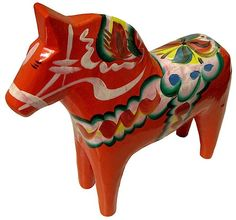 A Dala horse painted with traditional Norwegian designs - tradition shared with the Swedish. Reminds me of Ann-Marie's home at Christmas.