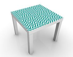 #Beistelltisch - Geometrisches Design Grün  - #Tisch Blau #Muster #Pattern #Paisley #Struktur #Designs