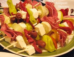 antipasti skewers party-ideas with pepperoncinis. love.