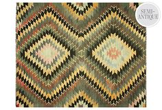 Kilim, cool faded colors - black, yellow, blue