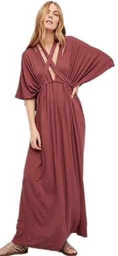 Convertible Multi Way Strappy 3/4 Sleeve Kimono Sleeve Deep V-Neck Long Maxi A-Line Column Dress
