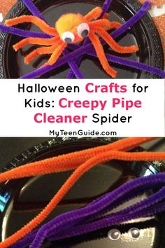 Check out this super cute and simply Creepy Pipe Cleaner Spider! It's perfect if you're looking for fun Halloween Crafts for kids! Super Easy Crafts For Kids, Crafts For Less, Crafts For Girls, Kid Crafts, Halloween Crafts For Kids, Halloween Fun, Pipe Cleaner Crafts, Pipe Cleaners, Pet Spider
