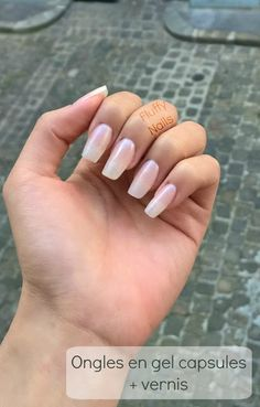 """natural-looking square gel nails : transparent gel + """"fill the gap"""" base by Essie"""