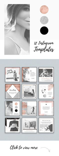 $6 ONLY Rose Gold Instagram Templates Pack by Moving Parallels on @etsy Elegant​ and classy Rose Gold Instagram Media Pack, created for entrepreneurs​, small and big companies to help promote their business via Social Media Networks. Easily edit and create your own posts for Instagram with Adobe Photoshop using these 12 unique templates with a ​light clean minimal design.