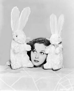 Susan Hayward and two cute bunny friends. #vintage #actresses #Easter