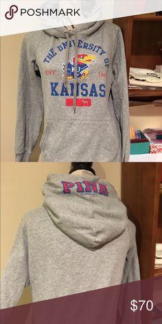 SALE❤️ Pink KU Jayhawk sweatshirt Has been worn and is in used condition. Super soft sweatshirt. It's seems to run tighter PINK Victoria's Secret Tops Sweatshirts & Hoodies