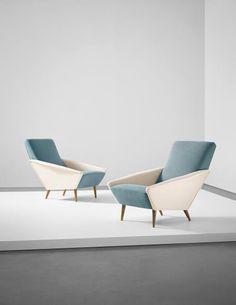 Gio Ponti, Pair of 'Distex' armchairs, model no. 807, from a Villa, Liguria