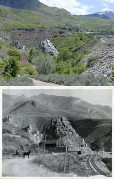 """Above is a present day view of """"Suicide Rock"""" at the mouth of Parley's Canyon, and below is the same view from sometime in the late 1800s."""