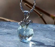 Elegantly Faceted Grade AAA Avalon Blue Obsidian WITCH APPLE Gemstone and Sterling Silver Charm Pendant on Silver Plated Faceted Ball Chain by ArtisanWitchcrafts, $31.95