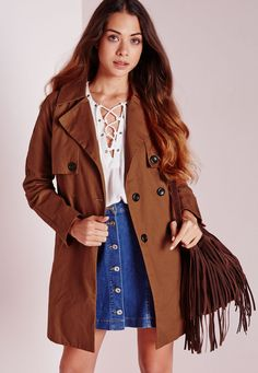 Cotton Double Breasted Trench Jacket Tan - Coats and Jackets - Trench Coats - Missguided