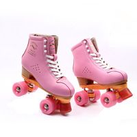 Adults Outdoor Indoor Lace Up Roller Skates Boots High Top Quad Skates Shoes Pink Double Line Skating Shoes
