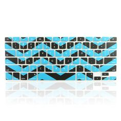 "TopCase Chevron Zig - Zag Silicone Keyboard Cover Skin for Macbook 13"" Unibody / Macbook Pro 13"" 15"" 17"" with or Without Retina Display / New Macbook Air 13"" / Wireless Keyboard + TopCase Mouse Pad (Black n Aqua Blue) TOP CASE"