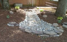 An option how to end the dry creek bed. Probably put a bird bath and flowers in there as well. Above Ground Pool Landscaping, Landscaping With Rocks, Front Yard Landscaping, Landscaping Ideas, Backyard Drainage, Landscape Drainage, Inexpensive Backyard Ideas, Outdoor Ideas, Rain Garden Design