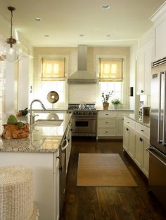 dark floors, off white cabinets and walls... nice and soft
