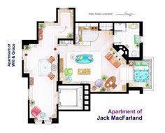 Artista ilustra planos de los más famosos apartamentos de la TV | 104.7 Hit
