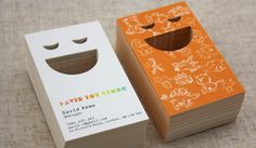 Playful happy face die cutting on Ultra Thick 26 pt Matte Laminated business cards