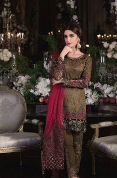 Maria B Mbroidered Chiffon Eid Collection 2017 With Prices & Stitching Online Buy. Pakistani Dress Design, Pakistani Designers, Pakistani Outfits, Pakistani Bridal, Eid Dresses, Party Wear Dresses, Women's Fashion Dresses, Chiffon Dresses, Cotton Dresses
