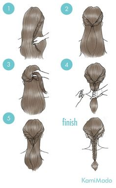 Here is a quick and easy style you can create just by using ponytails! Not all o frisuren haare hair hair long hair short Cute Simple Hairstyles, Braided Hairstyles, Wedding Hairstyles, Medium Hairstyle, Trendy Hairstyles, Braided Updo, Tied Up Hairstyles, Twisted Braid, Woman Hairstyles