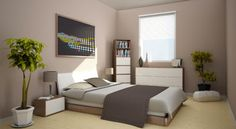 chambre adulte couleur taupe et lin style épuré