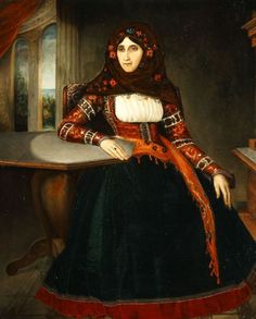 Kriezis Andreas 'Lady from Hydra', 1847 Greek Dress, Contemporary Decorative Art, Greek Art, Naive Art, Flower Art, Folk Art, Greece, Goth, Gallery