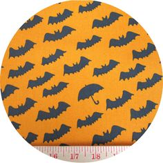 """Kobayashi, CANVAS, It's Raining Bats Orange  Fabric is sold by the 1/2 Yard. For example, if you would like to purchase 1 Yard, you would enter 2 in the Qty. box at Checkout. Yardage is cut in one continuous piece.  Examples:  1/2 yard = 1 1 yard = 2 1 1/2 yards = 3 2 yards = 4   1/2 Yard Measures 18"""" x 44/45""""  Fiber Content: 100% Cotton Canvas  Hover over image for a larger, better view."""