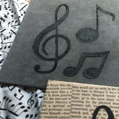 Paintings - Black Music Notes on Grey Velvet & Vintage Book Pages - 6 inch Square.