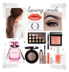 """How To:Coral Lips"" by fashionablegirl-13 ❤ liked on Polyvore featuring beauty, Essie, Bobbi Brown Cosmetics, Anastasia Beverly Hills, Trish McEvoy, MAC Cosmetics, Benefit and Victoria's Secret"