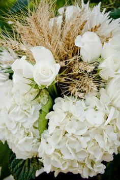 Harvest wheat, white rose and hydrangea bouquet...Chic bridal autumn