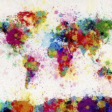 Fototapet - Paint Splashes Map