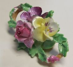 Vintage Floral Staffordshire Pin / Vintage Porcelain Pin / Vintage Flower Pin / Vintage Brooch