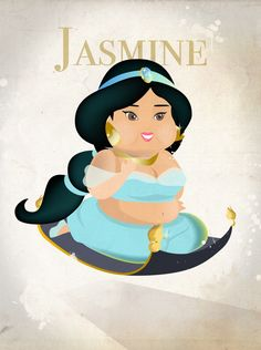 The Chubby Disney Princesses by Annasumi, via Behance Disney Dream, Disney Magic, Disney Art, Disney Pixar, Disney Characters, Fat Disney Princesses, Alternative Disney Princesses, Aladdin And Jasmine, Princess Jasmine