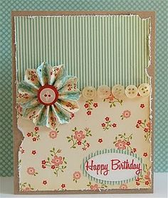 love the row of buttons mo stamp, button, happy birthday cards, papers, homemade cards, flower