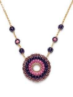Miguel Ases Rhondocrosite and Cat's Eye Round Pendant Necklace