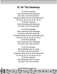 If All the Raindrops lyrics printout