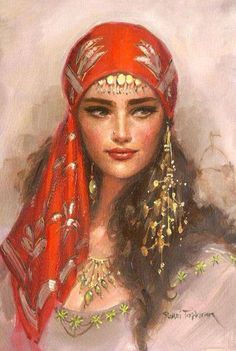 The colours used in this beautiful painting of a Turkish woman is just.. On point! Love the hair, intricate jewellery, striking features and voluptuous hair, a real feel of natural Mediterranean beauty.