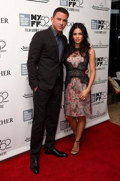 """Actors Channing Tatum (L) and Jenna Dewan attend the """"Foxcatcher"""" premiere during the 52nd New York Film Festival at Alice Tully Hall on October 10, 2014 in New York City."""