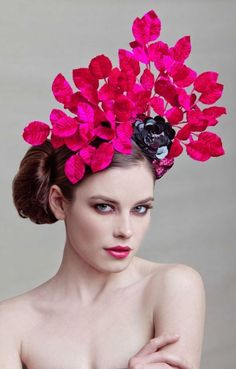 hot pink flower leaf fascinator