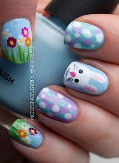 Bunny Nails for 2015 easter, Polka Dot