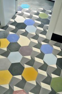 Purpura - hexagonal tiles - Handmade tiles can be colour coordinated and customized re. shape, texture, pattern, etc. by ceramic design studios