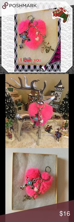 """💕 Perfect Stocking Stuffer - Pom Pom Key Chain 🎄 The perfect cute stocking stuffer - pink heart Pom Pom with large 2"""" Cross and heart charms, key chain or purse charm, comes with gift box, 6 1/2"""" long x 3 1/2"""" wide, black fringe tote available on separate listing 🏴 Boutique Accessories Key & Card Holders"""