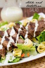 Super Delicious Steak and Tortellini Salad - a new favorite! { lilluna.com } Ingredients include tortellini, sirloin, & romaine in a creamy dressing.
