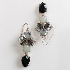 """Stunning Jade Emerald and Crystal Earrings Perfect for prom! 1 1/2"""" long Fashion jewelry Jewelry Earrings"""