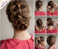 a cabelo braid hair tutorial Chic Hairstyles, Pretty Hairstyles, Braided Hairstyles, Braided Updo, Updo Hairstyle, Simple Hairstyles, Prom Hairstyles, Braided Pigtails, Famous Hairstyles