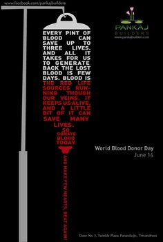 World Blood Donor Day - donate at least 5 gallons = gallons & counting Blood Donation Posters, Donation Quotes, Global Warming Poster, Blood Drive, Organ Donation, Hospital Design, Medical Logo, Best Ads, Creative Posters