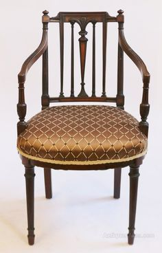 Antique Pair Of Edwardian Inlaid Mahogany Side Chairs C.1900 Complete Range Of Articles Antiques Chairs
